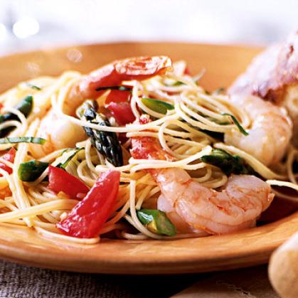 Recipes Course Main Dish Pasta PASTA-SEAFOOD- Angel hair w/ shrimp