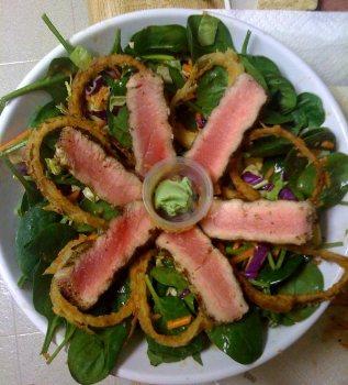 ... Course Salad Meat and Seafood Asian Sesame Salad with Seared Ahi Tuna