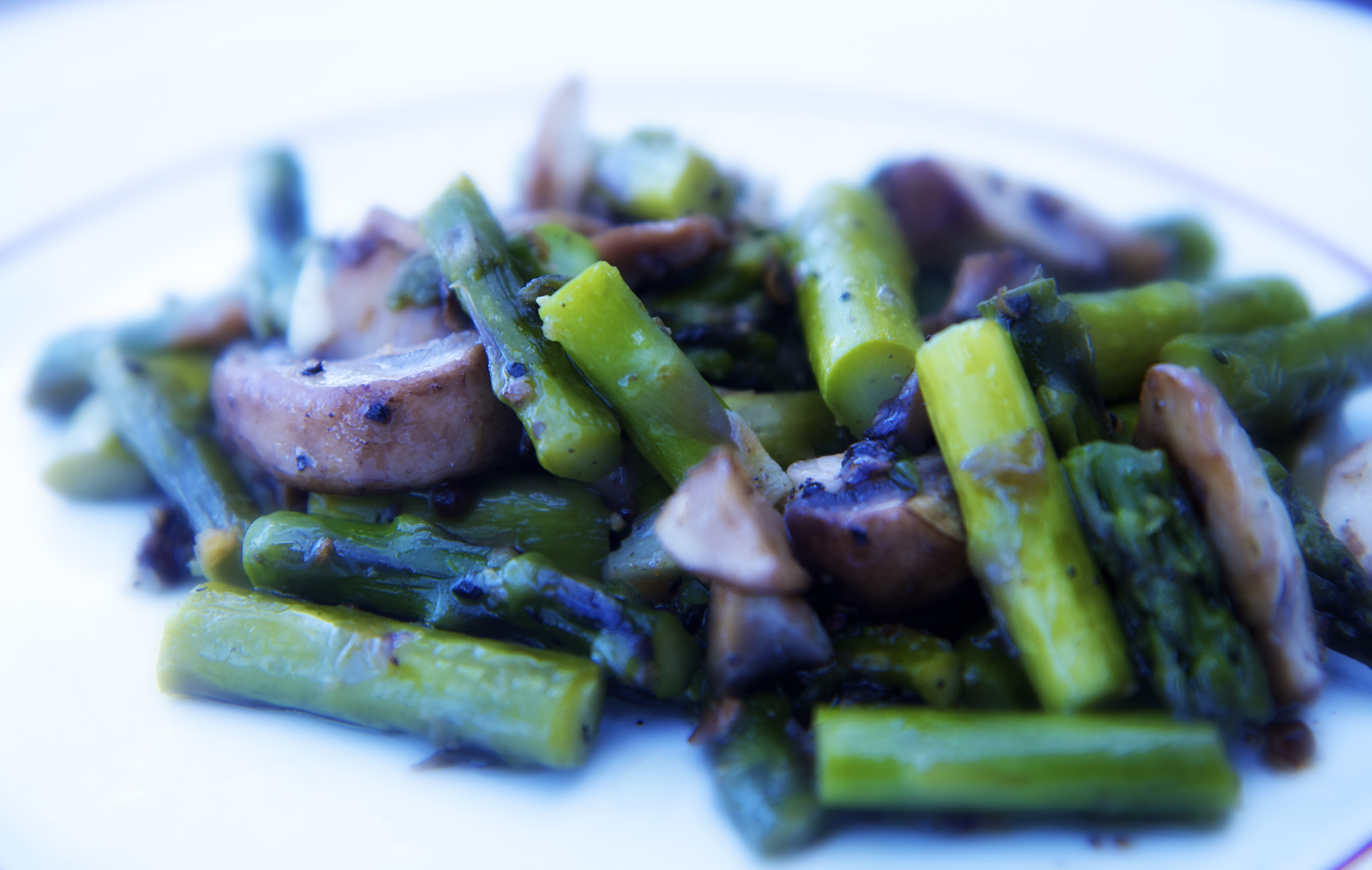Recipes Course Side Dish Vegetables Asparagus and Mushroom Saute