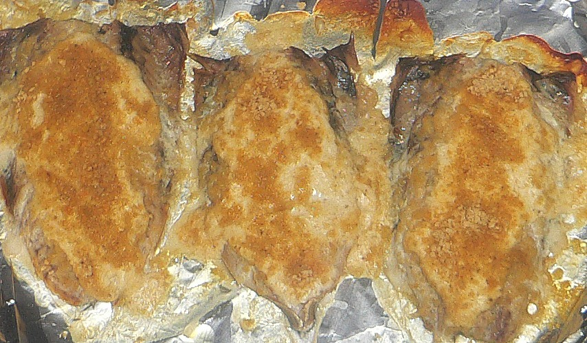 Baked fish with parmesan sour cream sauce bigoven 224925 for Baked fish recipe with sauce