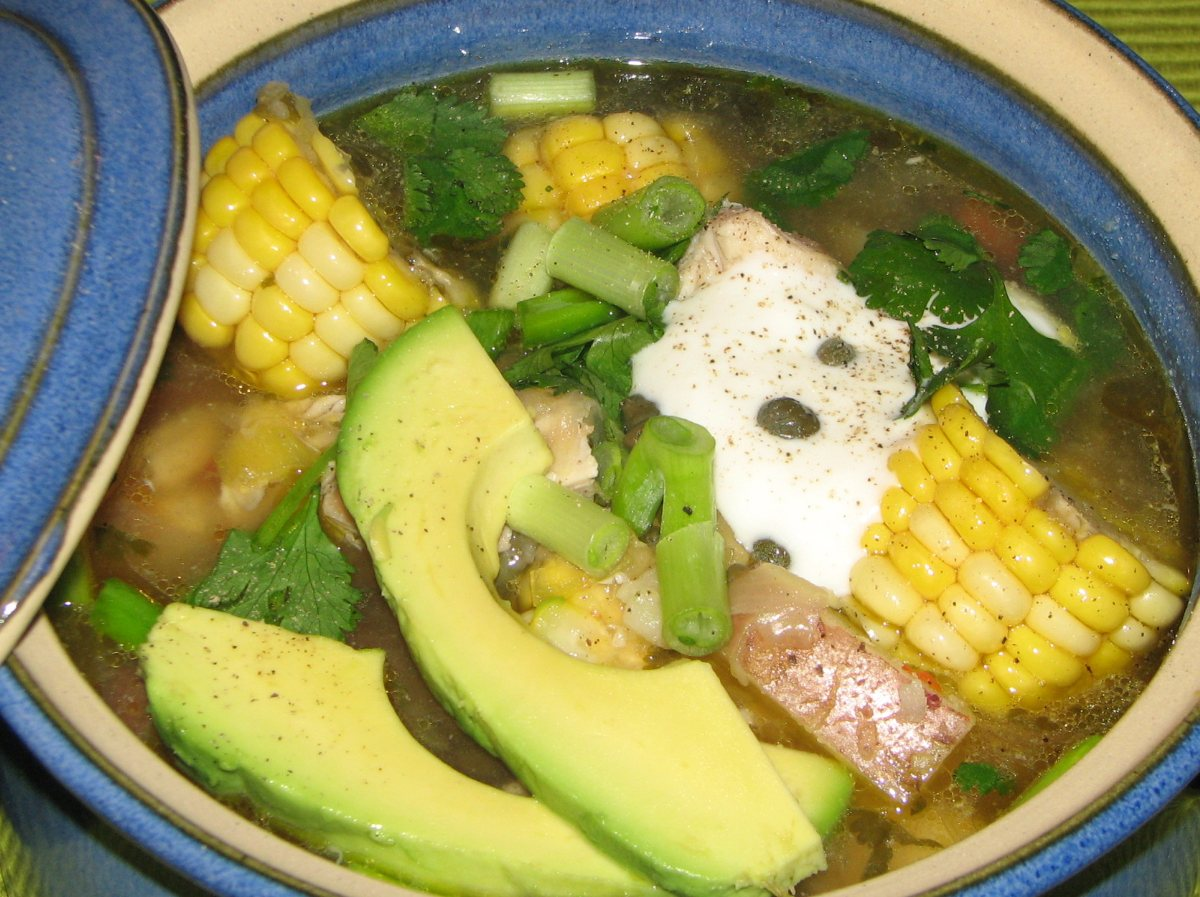 Ajiaco Colombian chicken soup (ajiaco