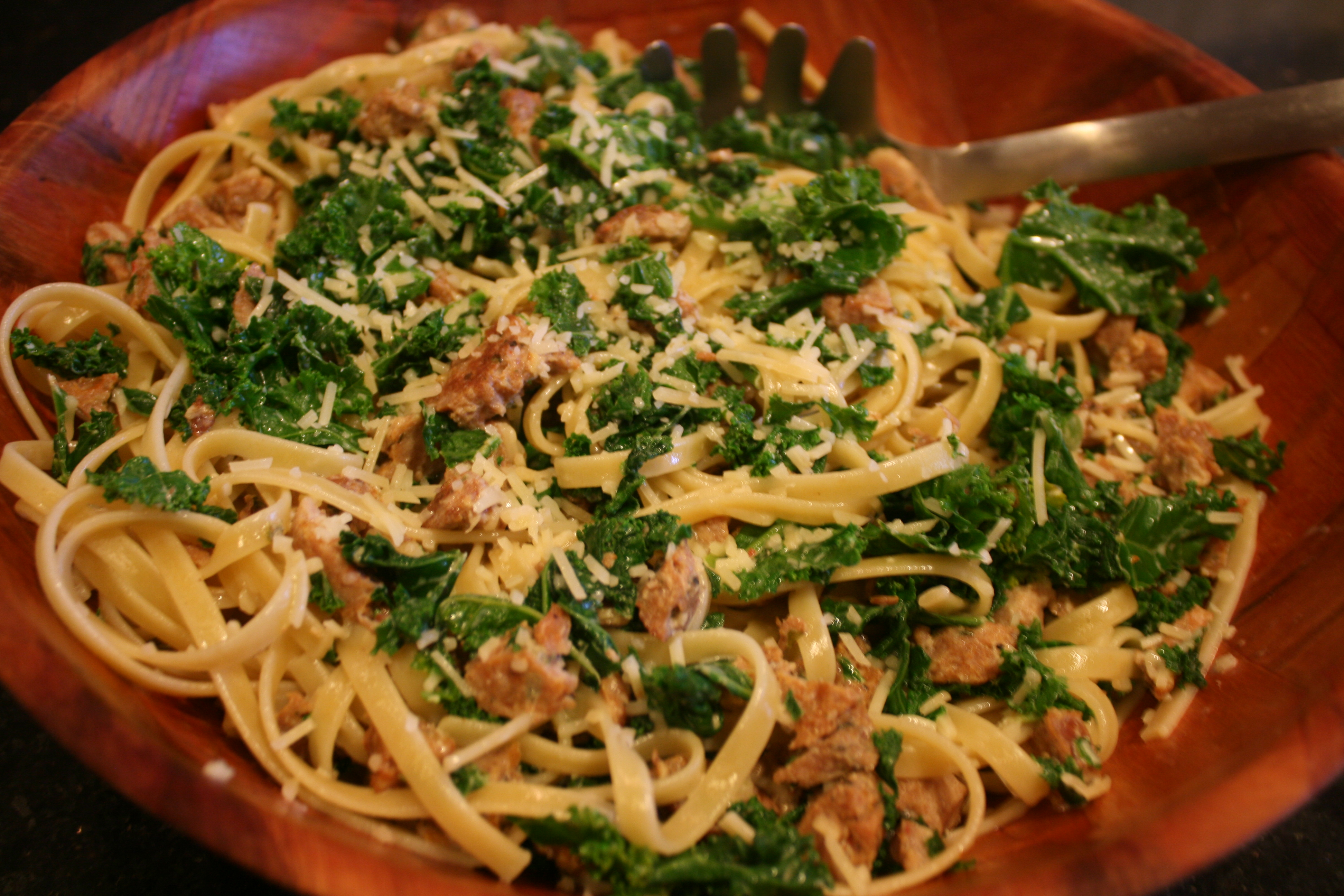 Fettucine with Sausage and Kale - BigOven 347580