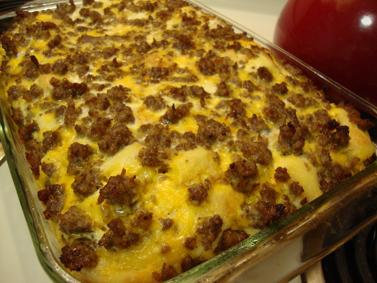 For the perfect combination of eggs, sausage, bread and cheese, this is the dish to try. My mom and I like this sausage breakfast casserole because it bakes up tender and golden, slices beautifully and goes over well whenever we serve it.