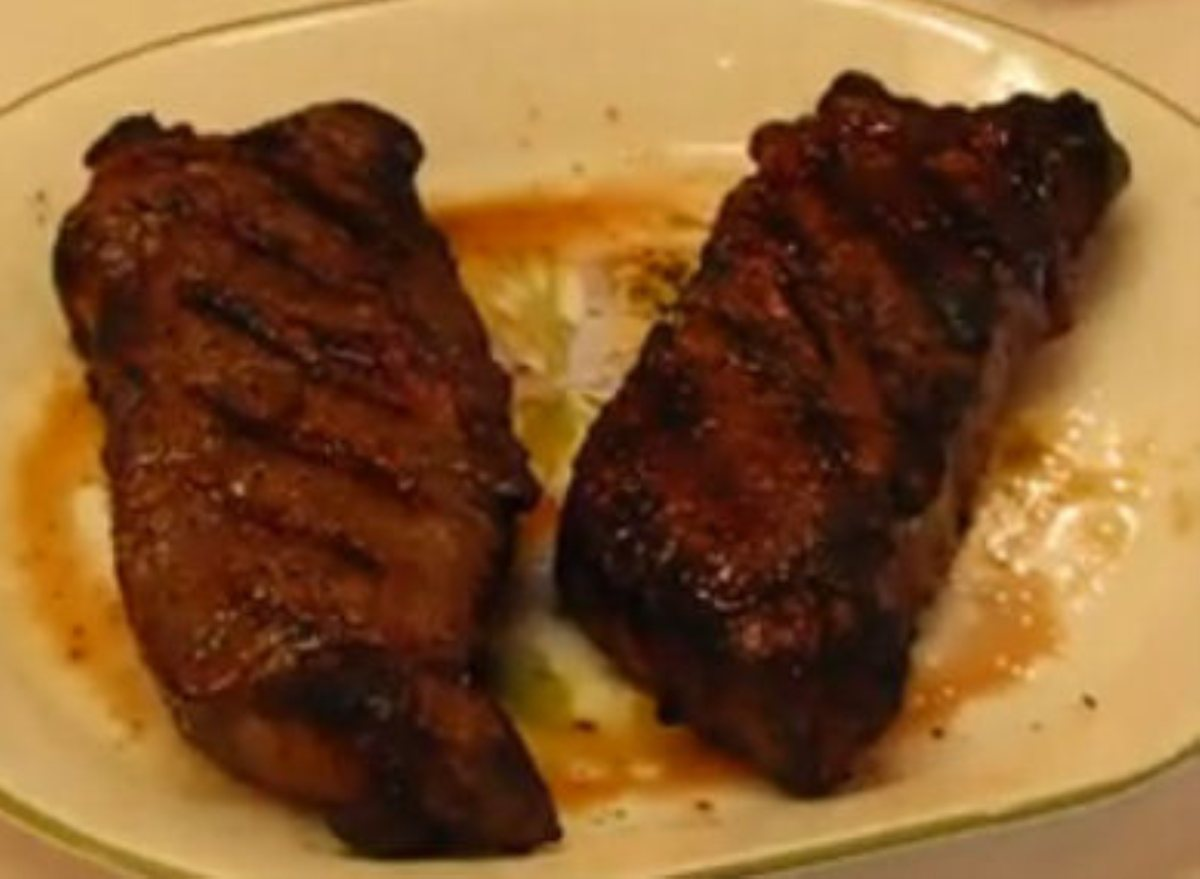 Grilled strip steaks