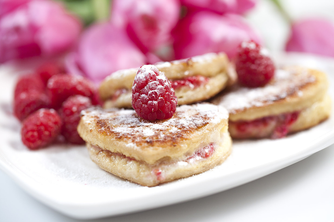 ... French Toast Heart Shaped French Toast with Mascarpone and Raspberry