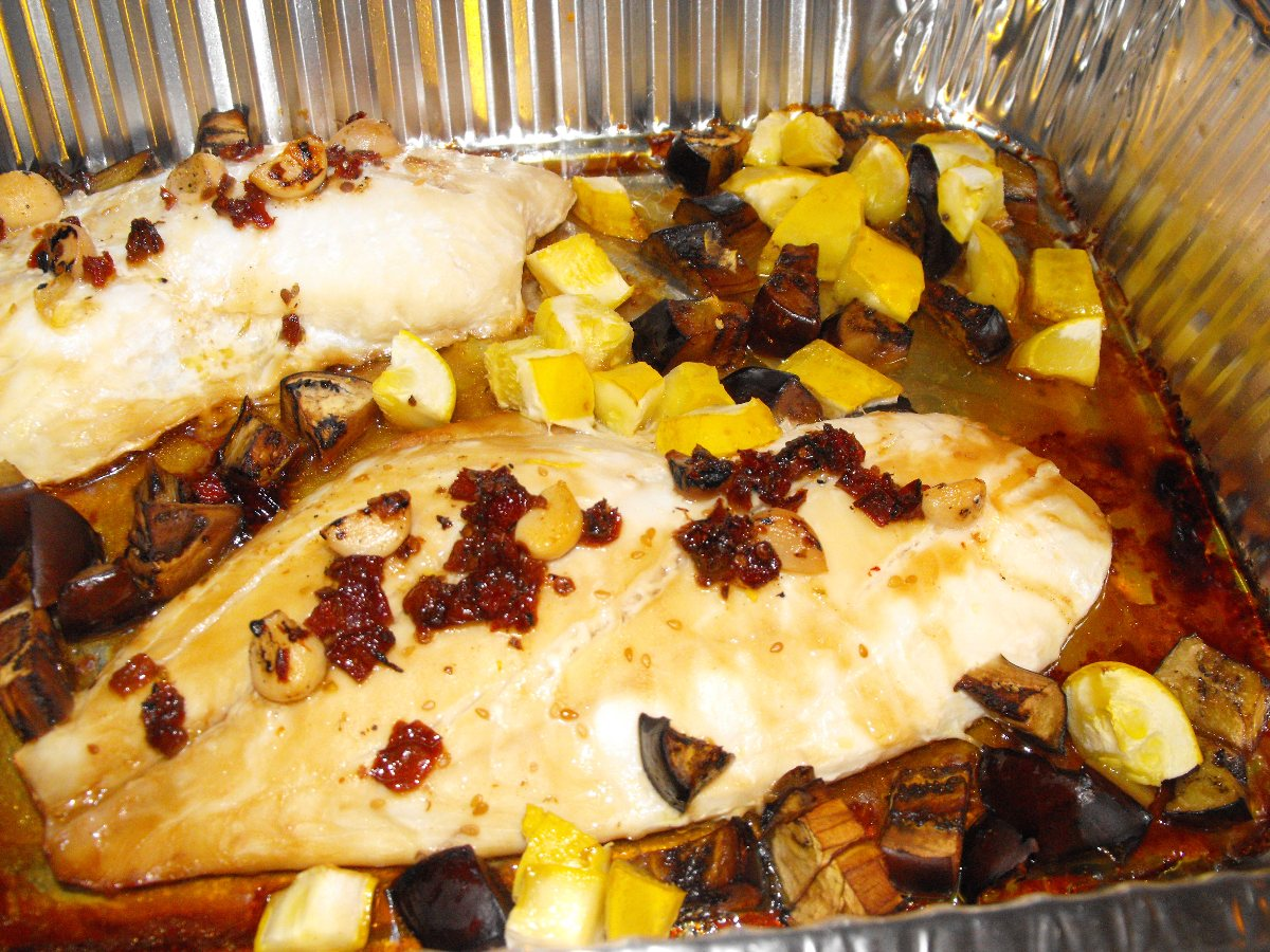 Oven Roasted Snapper with Eggplant and Summer Squash Cubes - BigOven ...