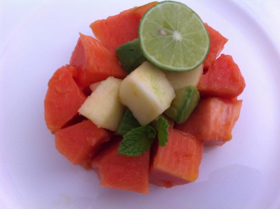 Recipes Course Salad Vegetable Salads Papaya Apple Avocado Lime Salad