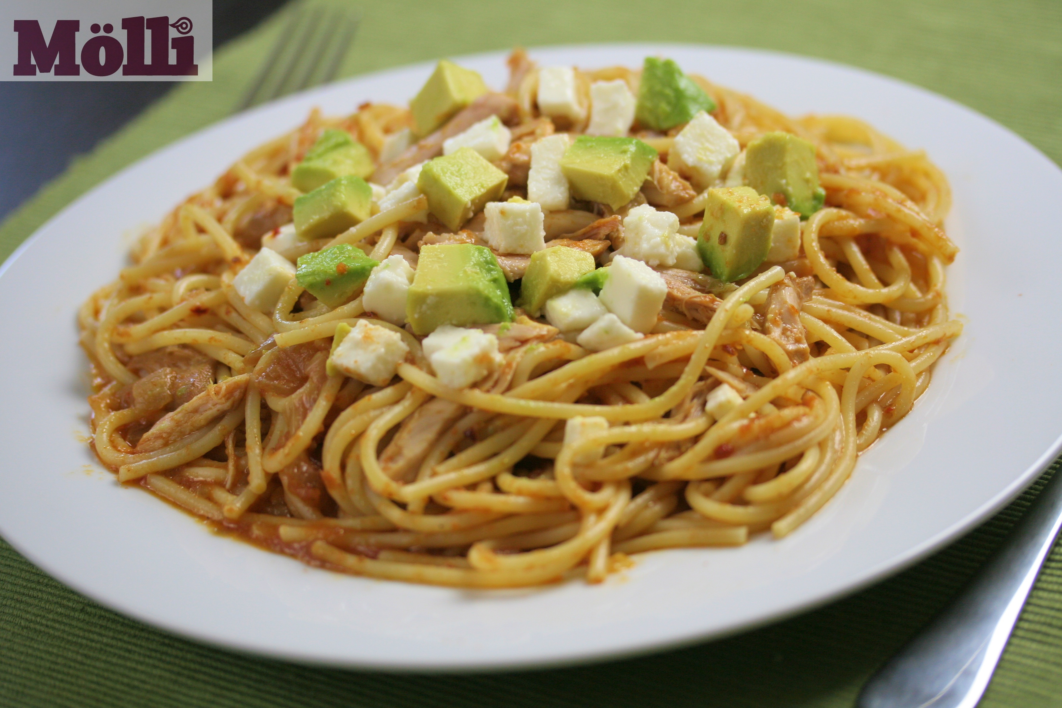 ... Main Dish Pasta Spicy Chicken Pasta (with Avocado and Queso fresco