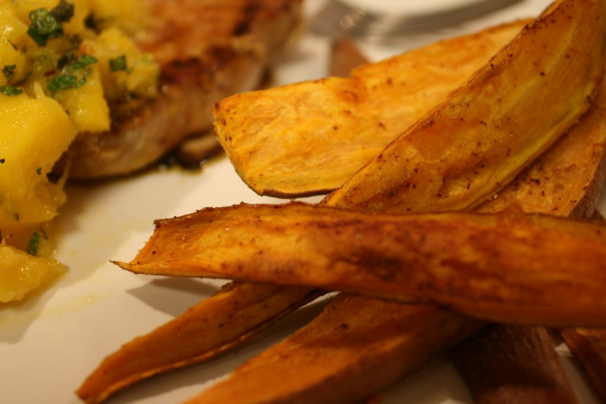 Recipes Course Side Dish Potatoes Roasted Sweet Potato Wedges