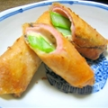 Asparagus, ham, cheese Spring Rolls