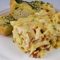 Baked Chicken and Bacon Alfredo & Garlic Bread
