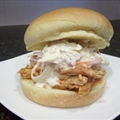 BBQ Pulled chicken sandwhiches with coleslaw