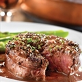 Beef -Peppercorn-Seasoned Steaks with Mustard-Wine Sauce