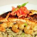 Blackened Salmon w/ Wild Rice & Cajun Alfredo