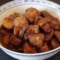 Braised potato and pork belly with red fermented beancurd