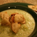Broccoli and Cheddar Soup with Cajun Croutons