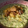 Broccoli and Cheese Soup with Croutons