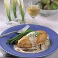 Chicken Breasts Roasted with Bacon and Pears In Mustard Cream Sauce