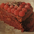 Chocolate Almond Torte with Raspberries