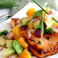 CITRUS-GLAZED SALMON WITH AVOCADO SALSA