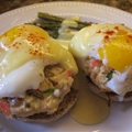 Crab Cakes Eggs Benedict with Roasted Asparagus