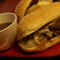 Dripping Roast Beef Sandwiches with Melted Provolone with Au Jus