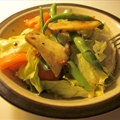 Greenbean & king oyster mushroom salad with red chillie & balsamic dressing