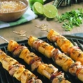 Grilled Chicken, Plantain, and Pineapple Skewers
