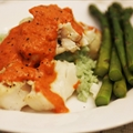 Grilled Halibut with Roasted Red Pepper Puree