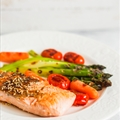Grilled Salmon & Mixed Summer Vegetables,yellow Tomato&lemon