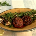 Grilled sea bass with herb and raisin salsa and chermoula marinade