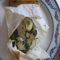 Halilbut and Leeks Baked in Parchment