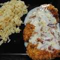 Jodie's pretzel-crusted chicken with cheddar sauce