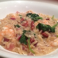 "Lemon Barley ""Risotto"" with Shrimp, Bacon & Spinach"