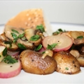 Lemon thyme infused mushrooms with backed radish
