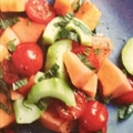 Melon, tomato and cucumber salad with serrano ham