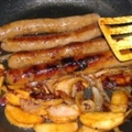Pan-Grilled Sausages With Apples and Onions