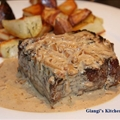 Pan Seared New York Steaks with Whiskey and Cream