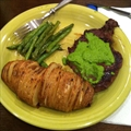 Pan Steak, Green Beans and Sliced Baked Potato