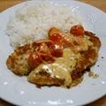 Parmesan Crusted Tilapia With Tomato and Basil Cream Sauce
