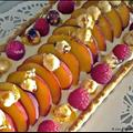 Peach, Raspberry & Hazelnut Tart