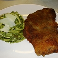 Peruvian Green Noodles w/ Breaded Steak 