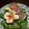 Prosciutto Wrapped Fig and Arugula Salad