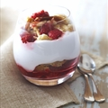 Raspberry and Tortas Parfait with Pomegranate Sauce