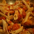 Rigatoni with Sausage, Pumpkin & Tomato Sauce