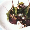 Roast beetroot with baby chard, goat's cheese and walnuts