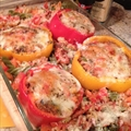 Roasted-filled Bell Peppers and pasta
