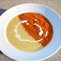 Roasted Yellow Pepper and Roasted Tomato Soup with Cream