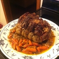 Rosemary Garlic Pork Rib Roast with Roasted Carrots and Onio