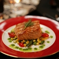 Salmon With Bacon and Oyster Succotash